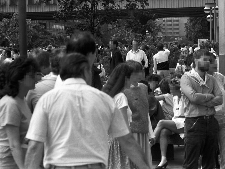 Obersvationsbildder Staatssicherheit vom evangelischen Kirchentagin Ost-Berlin am 27. Juni 1987.