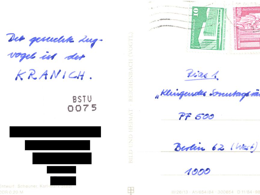 Einsendung für das 'klingende Sonntagsrätsel' des RIAS aus dem Bezirk Neubrandenburg.